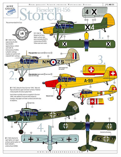 Print Scale Decals 1//72 FIESELER Fi-156 STORCH