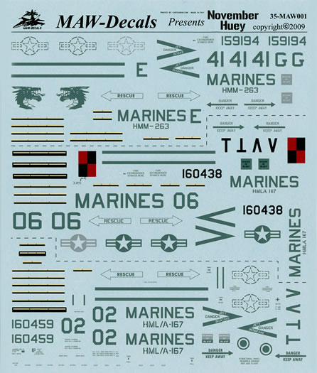 MAW Decals 1/35 scale November Hueys Review by Rodger Kelly: Image