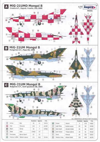 """Kopro Decals 1//72  MIG-21UMD ,Mongol B/"""""""