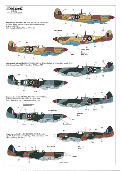 Xtradecal 1 72 And 1 48 Scale Supermarine Spitfire Mk Viii