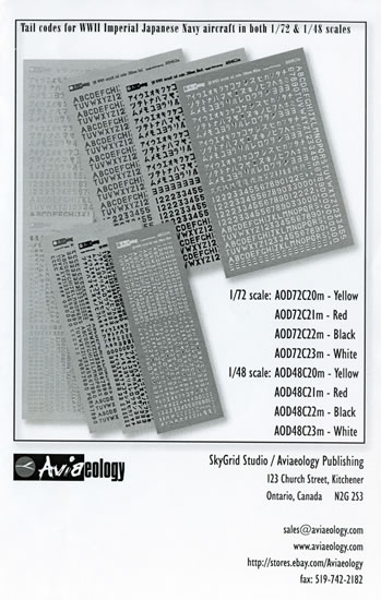 IJN Aircraft tail codes Black 1/72 scale Aviaeology Decals