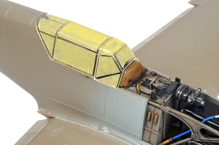 The first paint on airframe was RLM 02 Grey representing the interior canopy frame colour. & Messerschmitt Bf 109 E-1 by Brett Green (Eduard 1/32)